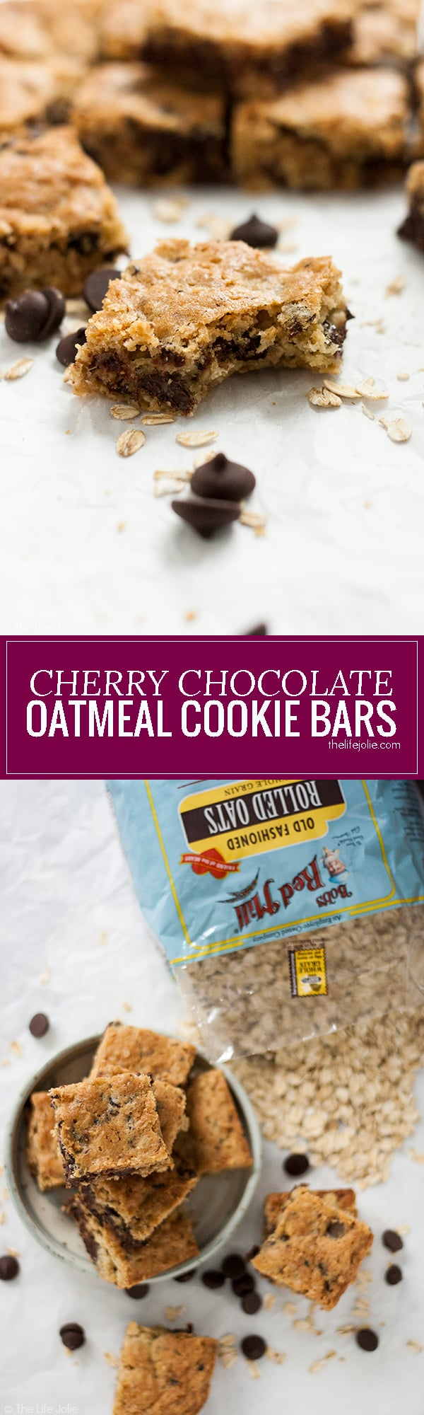 This Cherry Chocolate Oatmeal Cookie Bar recipe makes a great lunchbox treat and after school snack! These chewy treats have dark chocolate chips and dried cherries. They're quick and easy to make and a huge hit with the whole family!