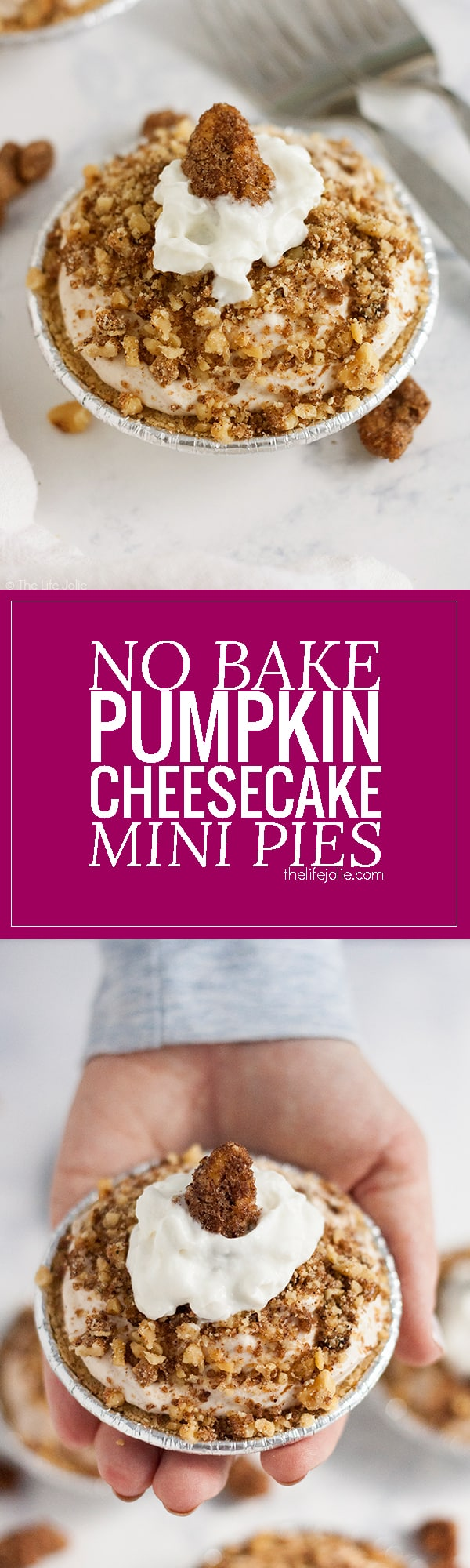 This No Bake Pumpkin Cheesecake Mini Pies recipe is such an easy fall dessert option! A few simple ingredients (including some secret ingredients that allow this to be a no bake recipe) and you've got a delicious dessert that's quick enough to whip up for an afternoon snack but decadent enough to make for the holidays! #ad