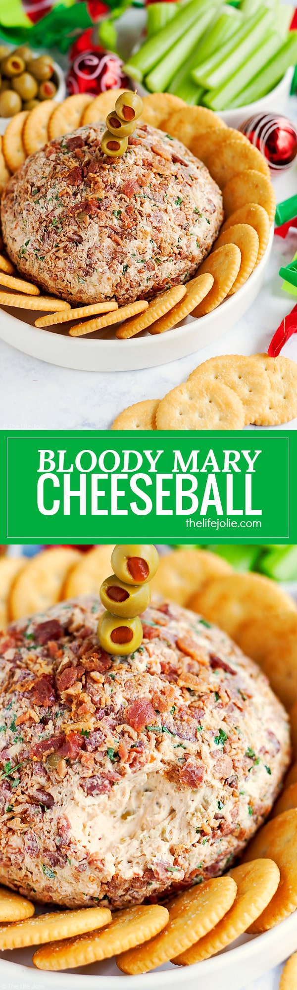 This Bloody Mary Cheeseball Recipe is the best easy appetizer option for entertaining. Made with many of the same ingredients and toppings as a traditional Bloody Mary drink (but without the alcohol) this family friendly hors d'oeuvre is full of great flavor and would look especially festive at a Christmas or other holiday party.