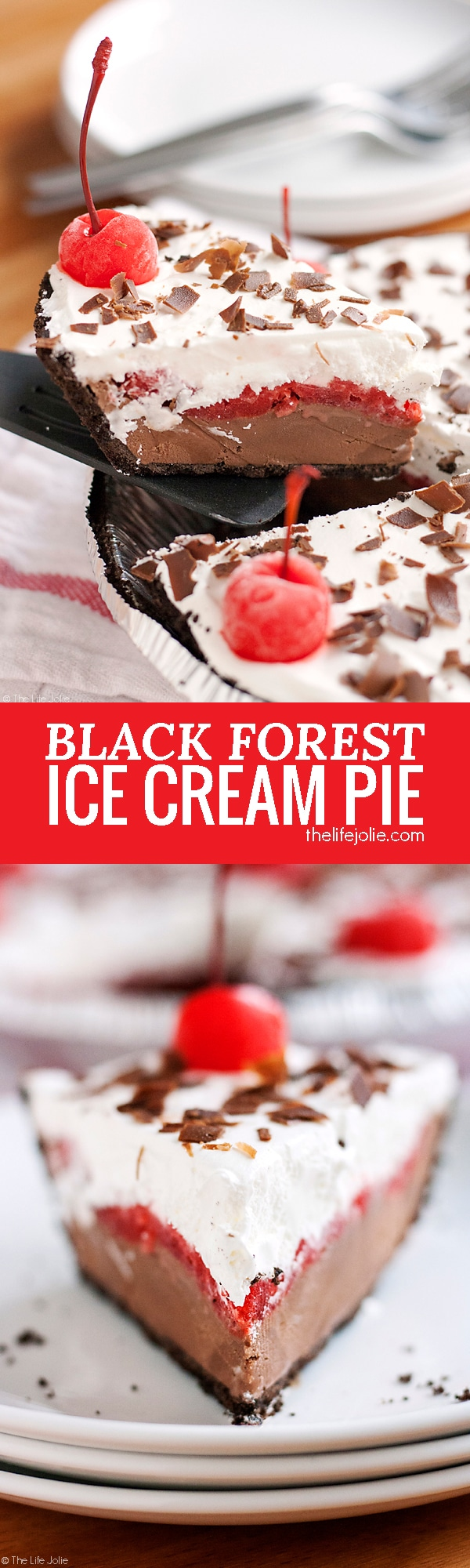 """This Black Forest Ice Cream Pie is a quick and easy no bake dessert recipe. Made with an Oreo Cookie crust, chocolate ice cream, maraschino cherries and whipped topping this pie is a pretty addition to any dessert table! It's perfect for the holidays or to keep in the freezer """"just because""""!"""