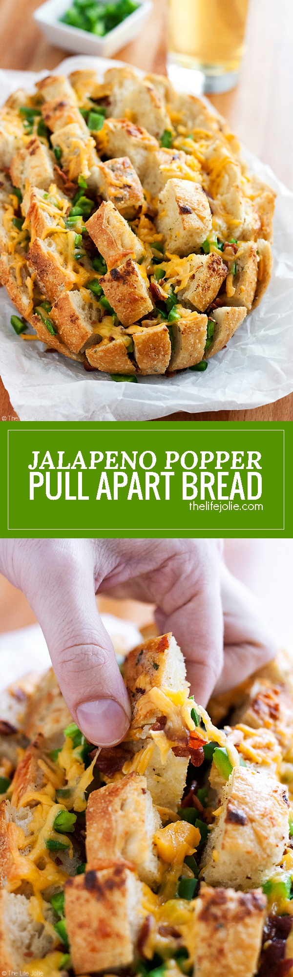 This cheesy Jalapeno Popper Pull Apart Bread is an easy recipe for game day! A loaf of bread stuffed with jalapenos, cheese and bacon; it's super quick to throw together and is sure to be a hit at your next Superbowl Party!