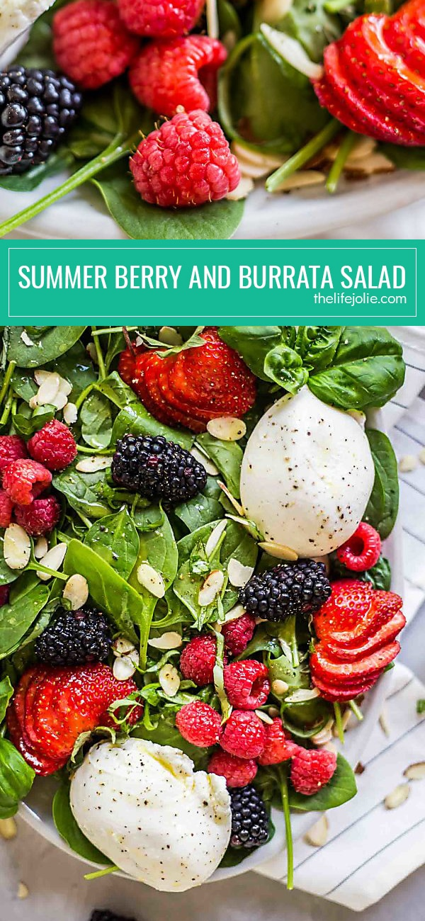 Summer Berry and Burrata Salad is a healthy and delicious recipe. It's easy to make with baby spinach, berries, sliced almonds and creamy Burrata cheese with a homemade honey vinaigrette. This makes a festive side for entertaining guests or a great main dish on a hot summer night when you don't want to cook!