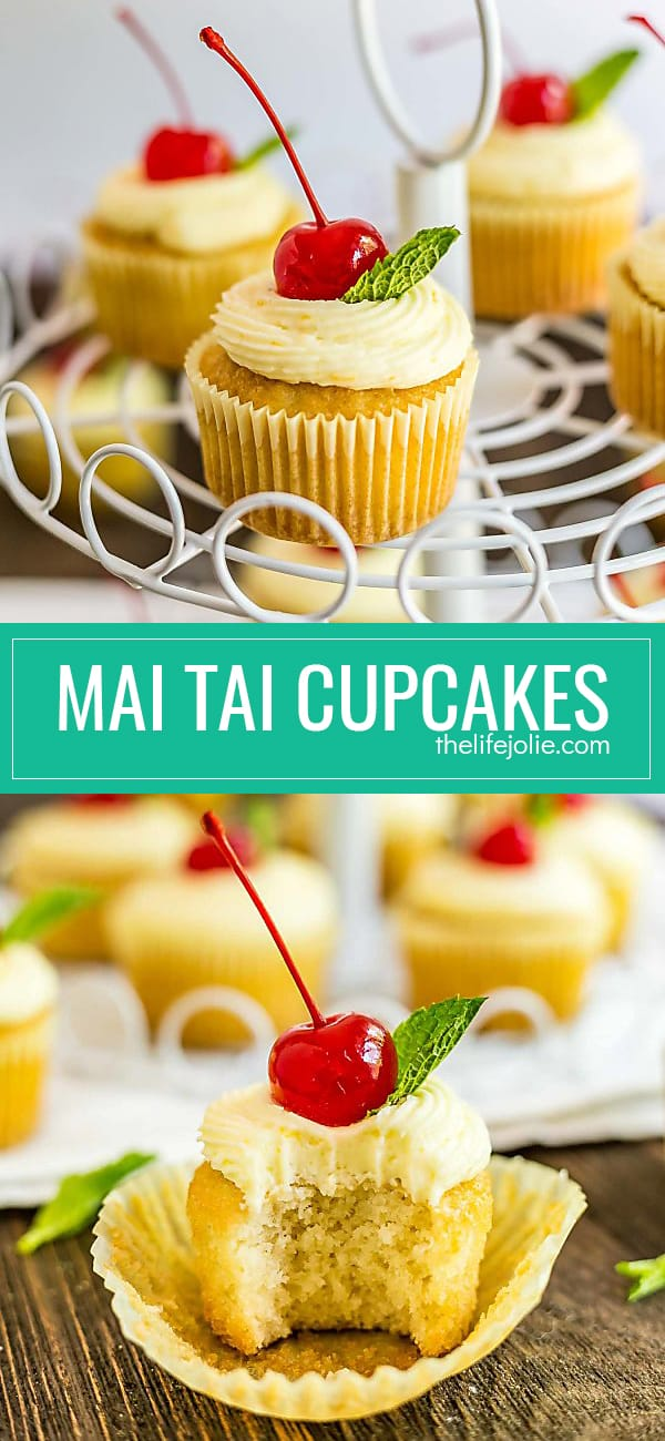 These Mai Tai Cupcakes are an easy and delicious recipe inspired by the cocktail. There's a small amount of rum (not a ton, there are kid-friendly) in the cupcakes which makes them super moist and they're topped with a fresh orange butter cream that's bursting with flavor and a cherry and a sprig of mint on top, just like the drink!
