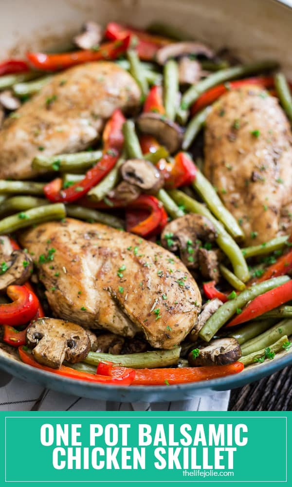 This 30 Minute One Pot Balsamic Chicken Skillet is one of the most quick and easy weeknight dinner recipes around! It's made in one pan with mouthwateringly tender chicken and veggies that are full of great flavor. This also reheats well which makes it a great, healthy meal prep option!