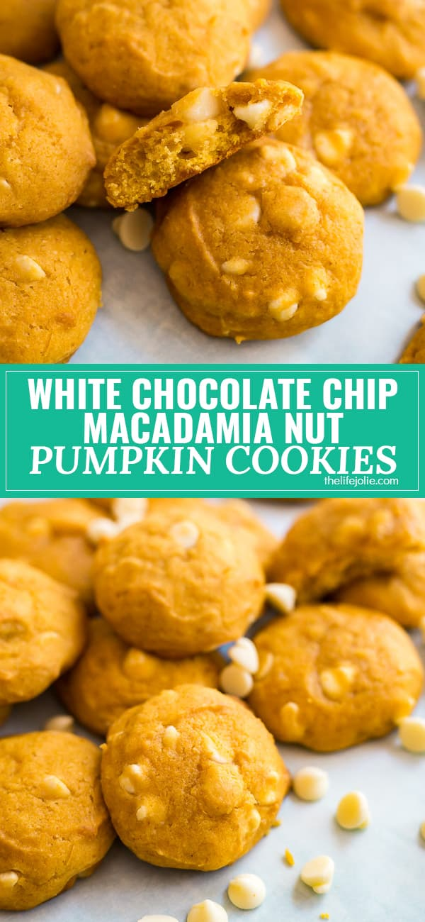 This White Chocolate Macadamia Nut Pumpkin Cookies recipe is an easy and delicious fall treat! They're quick and easy to make and come out perfectly soft and chewy!