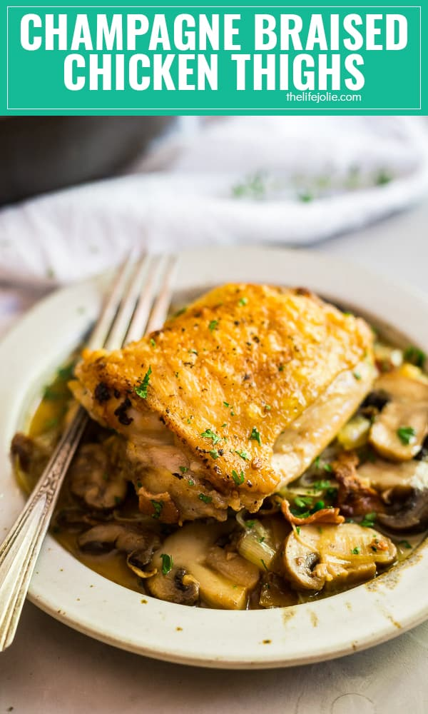 Champagne Braised Chicken Thighs is such an easy fall recipe. It's pretty quick to make on a weeknight and roasts up beautifully in the oven with bacon, leeks and mushrooms in a deliciously savory wine sauce the whole family will love!