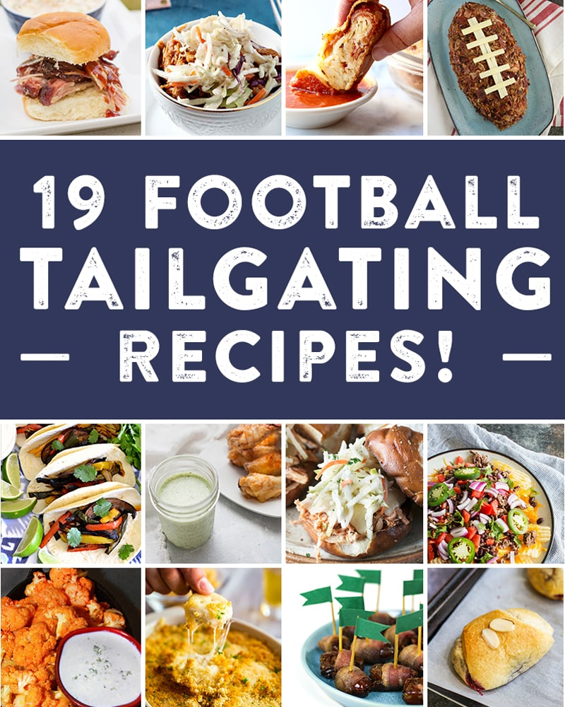 A collage of tailgating recipes.