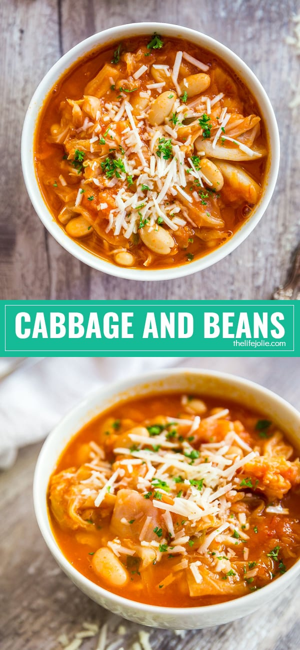 Cabbage and Beans is one of my favorite cheap and easy Italian recipes. Minimal ingredients with maximum flavor- this is a healthy meal option if you're on a budget and it goes a long way!