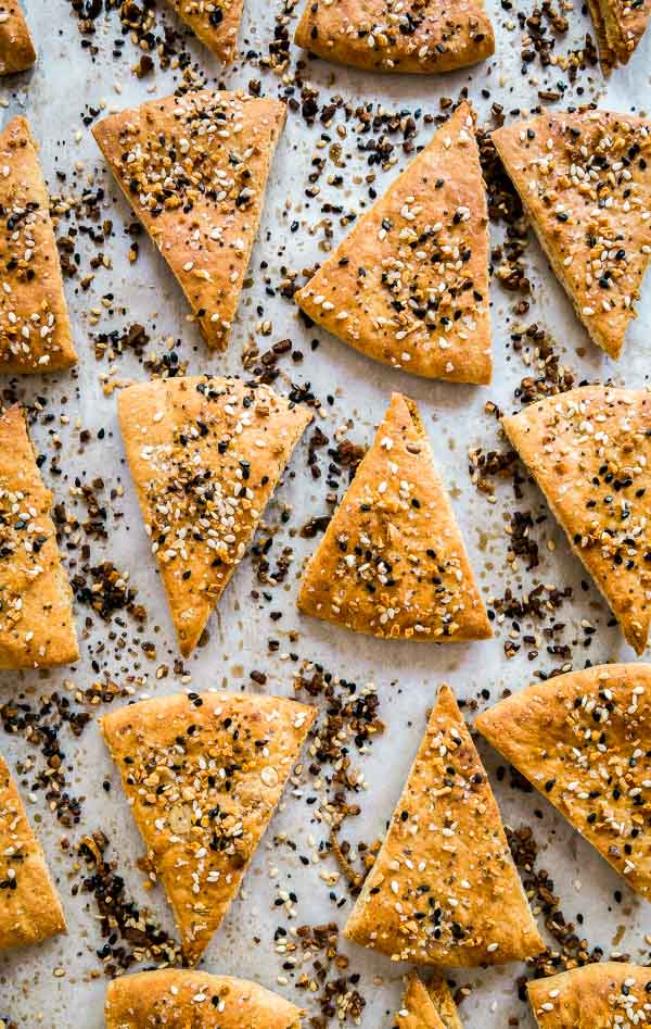 A close up overhead shot of Everything Pita Chips.