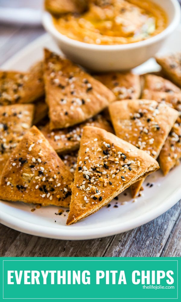 This homemade Everything Pita Chips recipe is a super easy and healthy appetizer. This post shows you how to make DIY Pita Chips with Everything Bagel Seasoning- they're baked to perfection and are the tastiest snacks you'll find!
