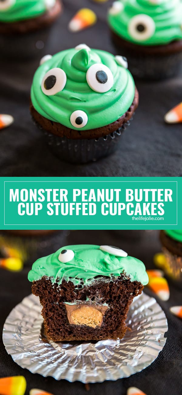 These diy Monster Peanut Butter Cup Stuffed Cupcakes are such an easy dessert recipe to make for kids this Halloween! This is a tutorial on how to make candy stuffed cupcakes that you can adapt to fit any occasion.