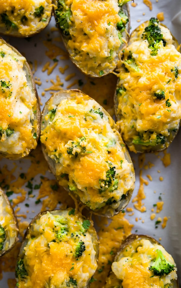 A close up overhead of Cheddar and Broccoli Twice Baked Potatoes.